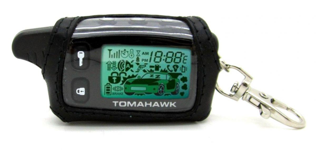 Чехол кожаный черный для брелка Tomahawk TW-9010/9020/9030