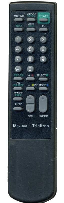 Пульт для Sony RM-870 (TV) (KV-1484MT, KV-1984MT, KV-2184MT, KV-2192M3, KV-2194MT, KV-2584MT, KV-2585T, KV-2964MT, KV-G25M1, KV-M2530D, KV-M2531, KV-M2550)