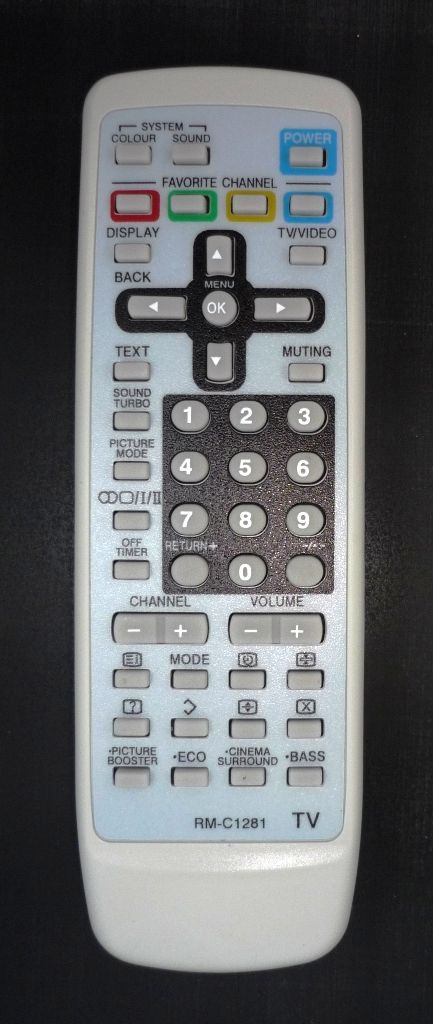 JVC RM-C1281 (TV с t/t) (AV-1414FE, AV-2114YE, AV-2134WE, AV-2134YE, AV-2144LE, AV-2153WE, AV-2154CE, AV-2154LE, AV-2154WE, AV-2174VE, AV-2184VE, AV-21F24, AV-21L24, AV-2534LE, AV-2553VE, AV-2554LE, AV-25LS24, AV-2934LE)